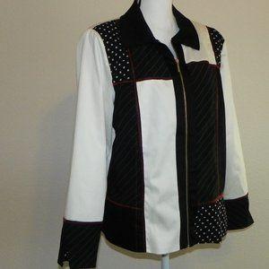 Light Lined Jacket Black White Women Lg